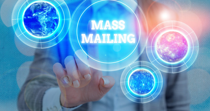 Handwriting text writing Mass Mailing.